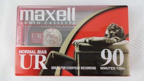 Maxell UR-90 Audio Cassette Tapes Perspective: front