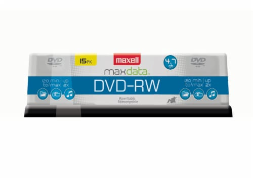 Maxell Max Data DVD-RW 15 Pack Perspective: front