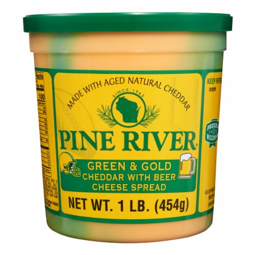 Pine River Green & Gold Cheddar with Beer Cheese Spread Perspective: front