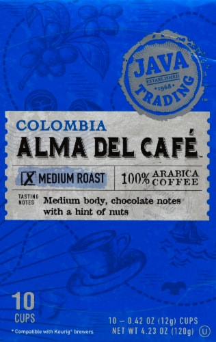 Java Trading Colombia Alma Del Cafe Single Serve Coffee Pods Perspective: front