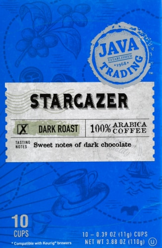 Java Trading Stargazer Dark Roast Single Serve Coffee Pods Perspective: front