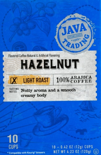 Java Trading Hazelnut Single Serve Coffee Pods Perspective: front