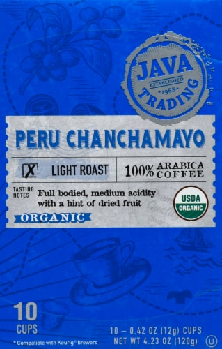 Java Trading Organic Peru Chanchamayo Single Serve Coffee Pods Perspective: front