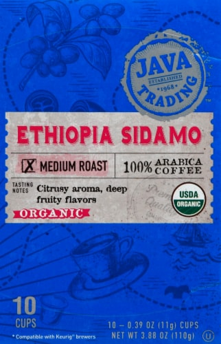 Java Trading Organic Ethiopia Sidamo Single Serve Coffee Pods Perspective: front
