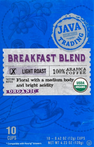 Java Trading Organic Breakfast Blend Light Roast Single Serve Coffee Pods Perspective: front