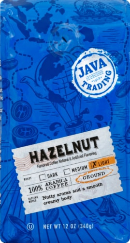Java Trading Hazelnut Light Ground Coffee Perspective: front