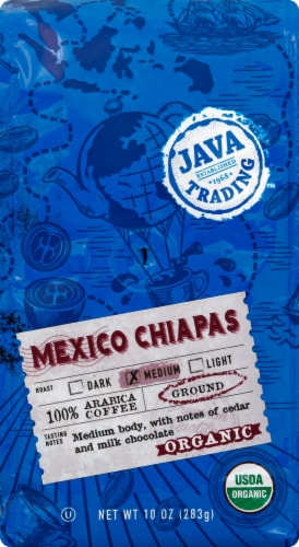 Java Trading Organic Mexico Chiapas Medium Ground Coffee Perspective: front