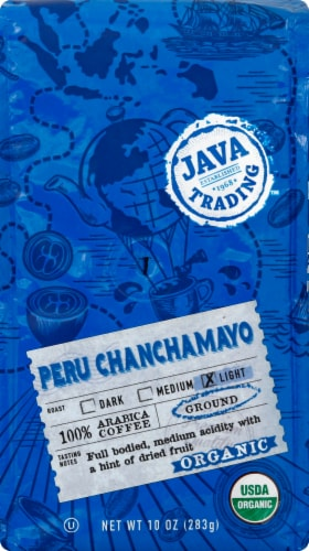 Java Trading Organic Peru Chanchamayo Ground Coffee Perspective: front