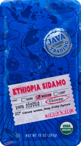 Java Trading Organic Ethiopia Sidamo Ground Coffee Perspective: front