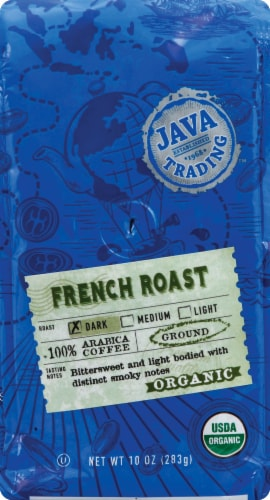 Java Trading Organic French Roast Dark Ground Coffee Perspective: front