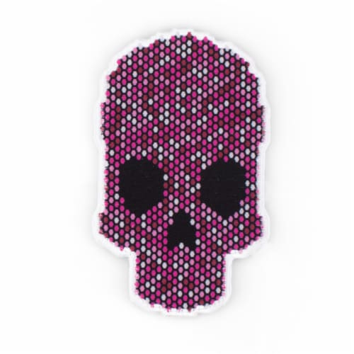 Pink Skull Shaped Stick-On Phone Wallet Perspective: front
