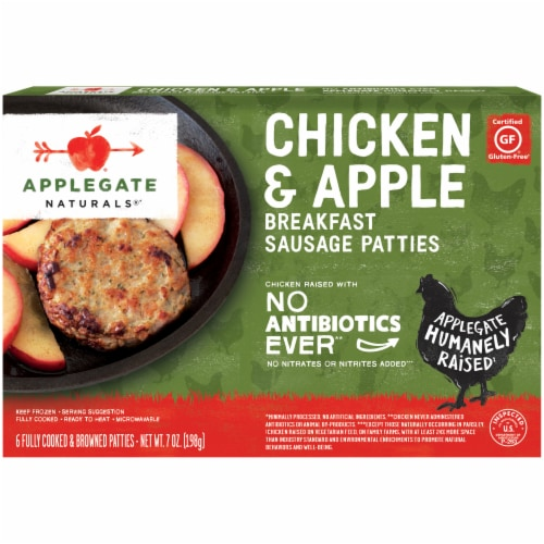 Applegate Naturals Chicken & Apple Breakfast Sausage Patties Perspective: front