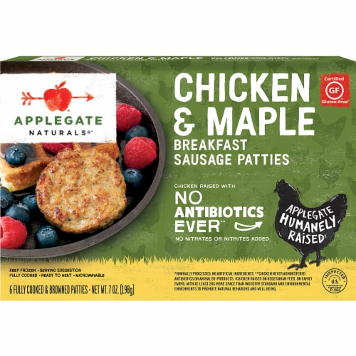 Applegate Chicken & Maple Breakfast Sausage Patties 6 Count Perspective: front