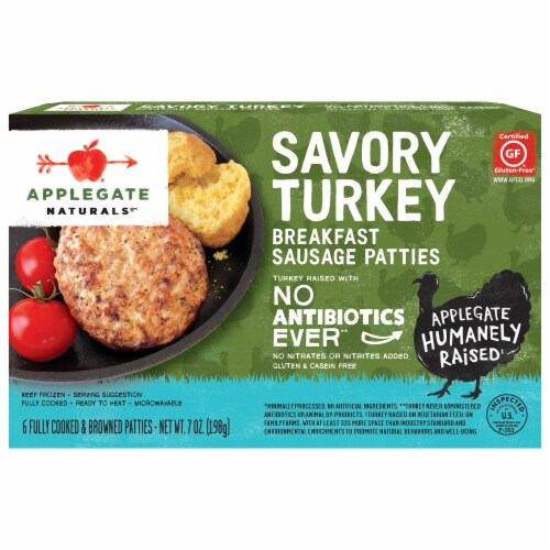 Applegate Naturals Savory Turkey Breakfast Sausage Patties Perspective: front