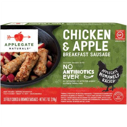 Applegate Natural Chicken & Apple Breakfast Sausage 10 Count Perspective: front