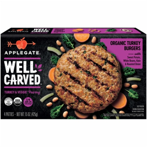Applegate Well Carved Organic Turkey Burgers 4 Count Perspective: front