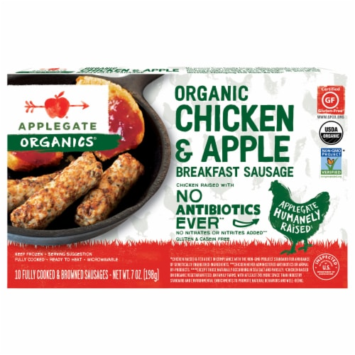 Applegate Organic Chicken & Apple Breakfast Sausage 10 Count Perspective: front