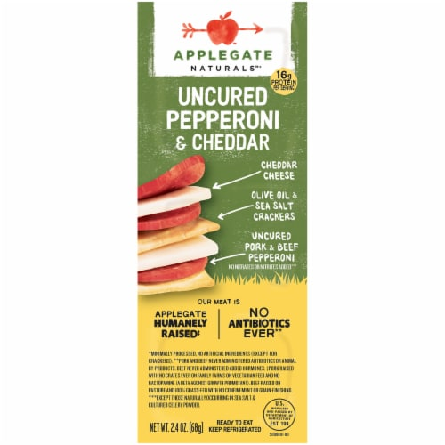 Applegate Naturals Uncured Pepperoni and Cheddar Cracker Snack Perspective: front