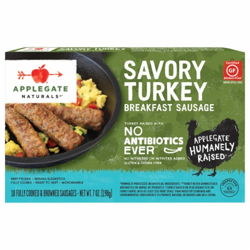 Applegate Naturals Savory Turkey Breakfast Sausage Links 10 Count Perspective: front