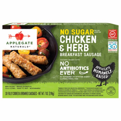 Applegate Naturals No Sugar Chicken & Herb Breakfast Sausage Links Perspective: front