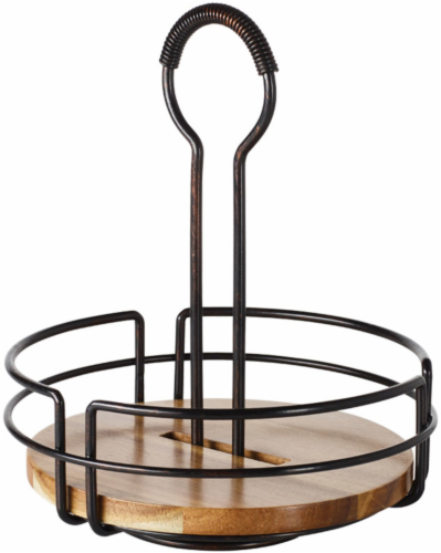 Mikasa Gourmet Basics Hanover Rotating Condiment Caddy - Brown/Black Perspective: front