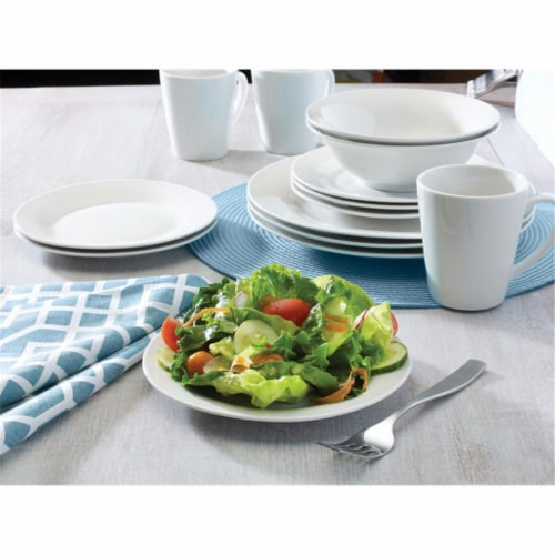 Pfaltzgraff White Porcelain Round Salad Plate, Pack of 12 Perspective: front