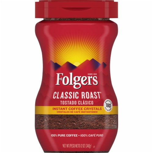 Folgers Classic Roast Instant Coffee Crystals Perspective: front