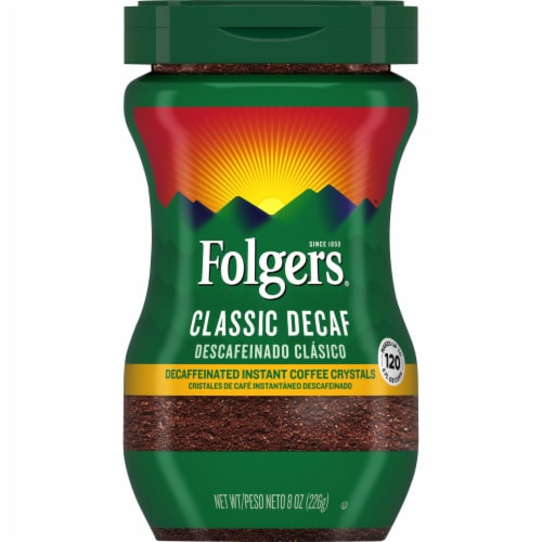 Folgers Classic Decaf Instant Coffee Perspective: front