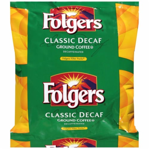 Folgers Classic Decaf Ground Coffee - 0.9 oz. filter pack, 80 packs per case Perspective: front
