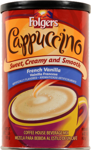 Folgers French Vanilla Cappuccino Coffee Mix Perspective: front
