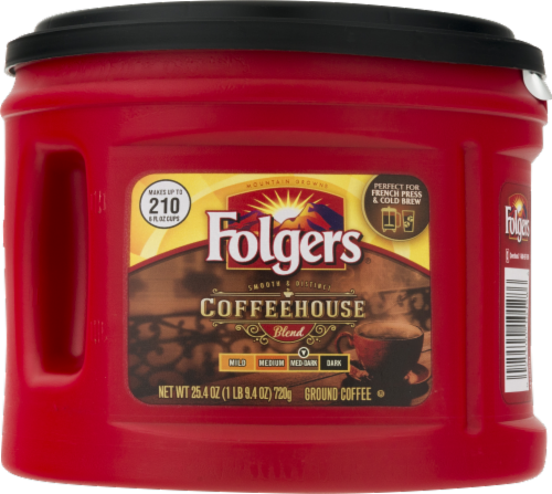 Folgers Coffeehouse Blend Med-Dark Ground Coffee Perspective: front