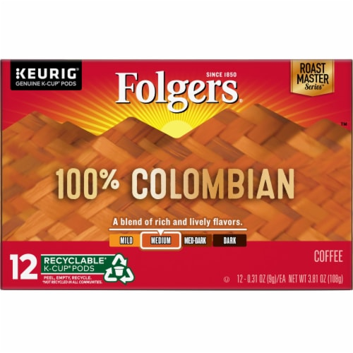 Folgers Gourmet Lively Colombian K-Cup Pods Perspective: front