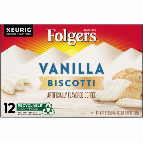 Folgers Gourmet Vanilla Biscotti Flavored Coffee K-Cup Pods Perspective: front