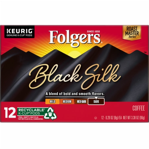 Folgers Gourmet Selections Black Silk Dark Roast Coffee K-Cup Pods Perspective: front