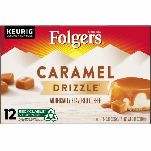 Folgers Gourmet Selections Caramel Drizzle Flavored Ground Coffee K-Cup Pods Perspective: front