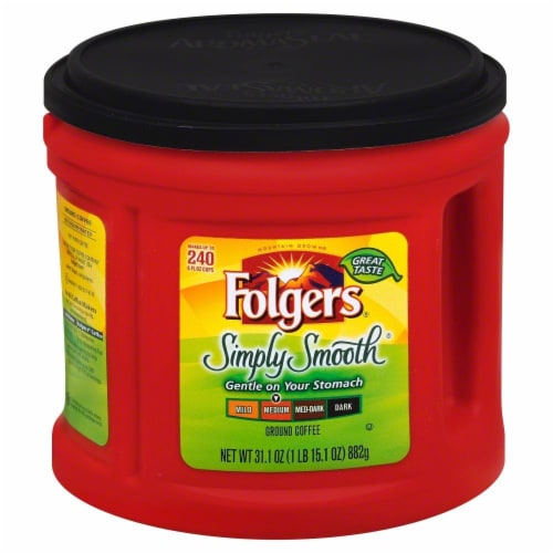 Folgers Simply Smooth Medium Roast Ground Coffee Perspective: front