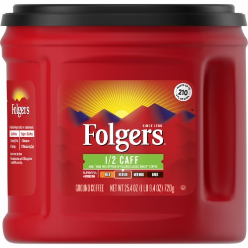 Folgers Half Caff Classic Roast Ground Coffee Perspective: front