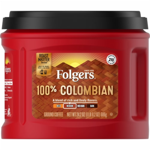 Folgers 100% Colombian Medium Ground Coffee Perspective: front