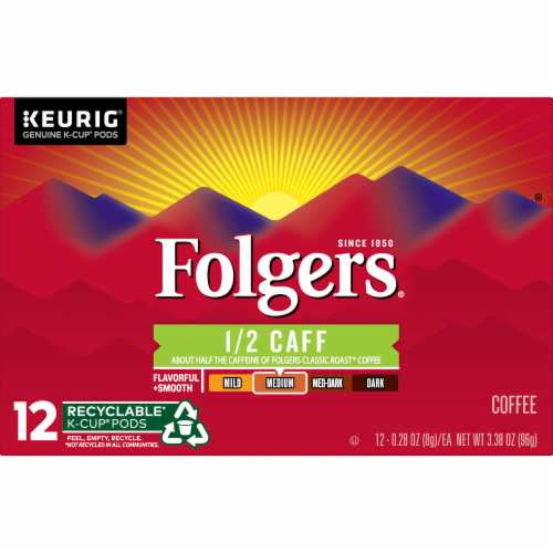Folgers Half Caff Coffee K-Cup Pods Perspective: front