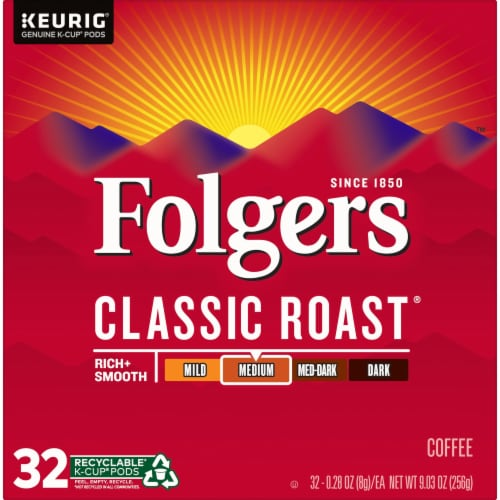 Folgers Classic Roast Medium Roast Coffee K-Cup Pods Perspective: front