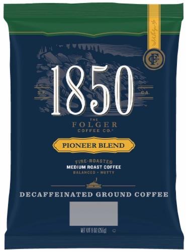 1850 Pioneer Blend Decaf Ground Coffee, Satellite/Urn Pack, Medium Roast, 9 oz, 12 Count Perspective: front