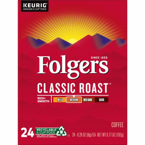 Folgers Classic Roast Coffee K-Cup Pods Perspective: front