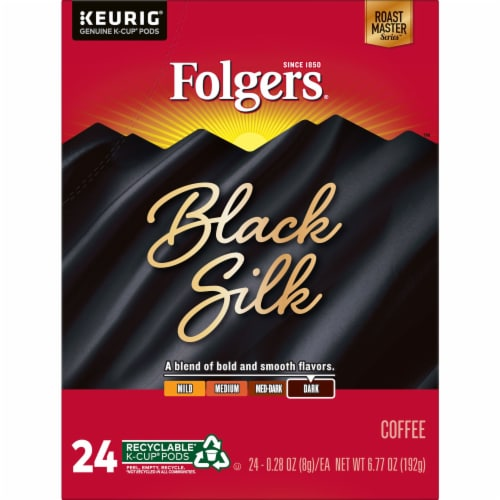 Folgers Black Silk Dark Roast Coffee K-Cup Pods Perspective: front