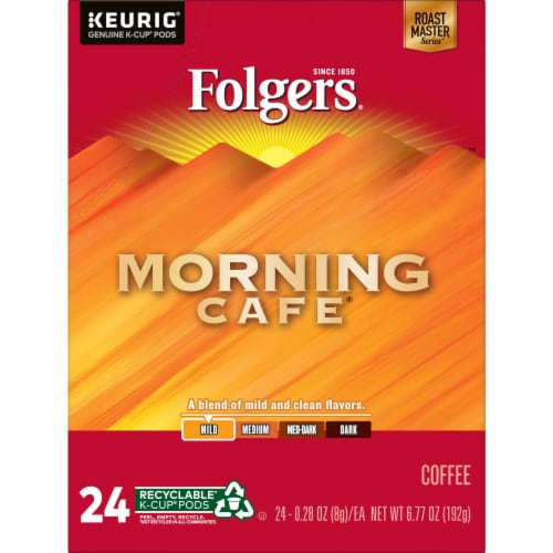 Folgers Morning Cafe Mild Roast Coffee K-Cup Pods Perspective: front