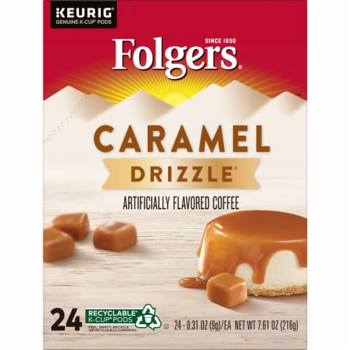 Folgers Caramel Drizzle Coffee K-Cup Pods Perspective: front
