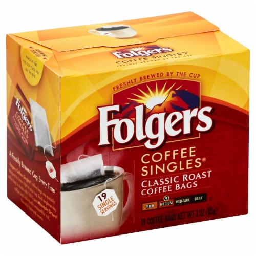 Folgers Coffee Singles Classic Roast Medium Ground Coffee Perspective: front