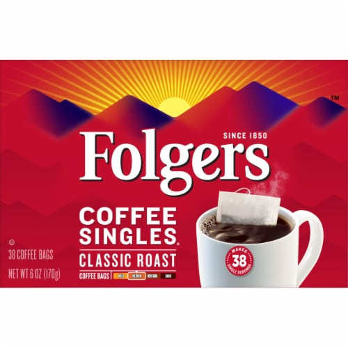 Folgers Coffee Singles Classic Roast Perspective: front