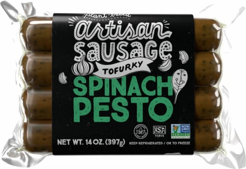 Tofurky Vegan Artisan Spinach Pesto Sausages Perspective: front