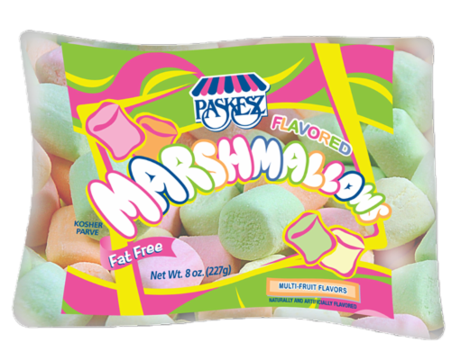 Paskesz Multi-Fruit Flavored Marshmallows Perspective: front
