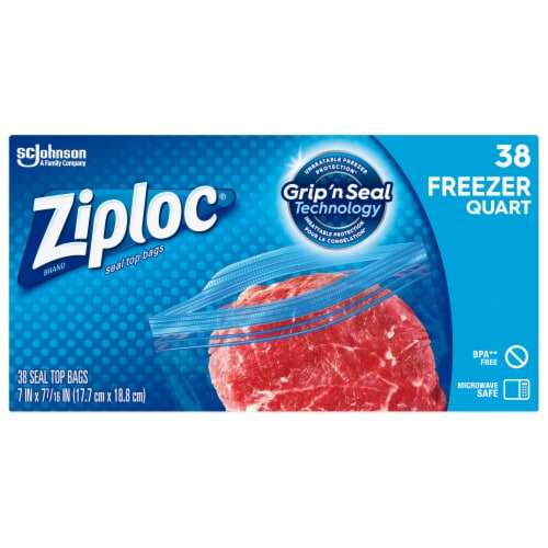 Ziploc Quart Freezer Easy Open Tabs Storage Bags Perspective: front